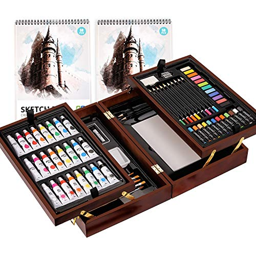 Art Supplies, with Soft & Oil Pastels, Acrylic Paints,Watercolor Paints, Water Color Set, Sketching Kit, Charcoal…