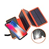Solar Charger, 20000mAh Solar Battery Charger with 3 Solar Panels and 2.1A Dual