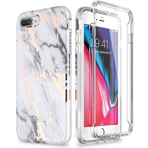 SURITCH Marble iPhone 8 Plus Case/iPhone 7 Plus Case, [Built-in Screen Protector] Full-Body Protection Hard PC Bumper + Glossy Soft TPU Rubber Shockproof Cover for iPhone 7 Plus/8 Plus- White/Gold ()