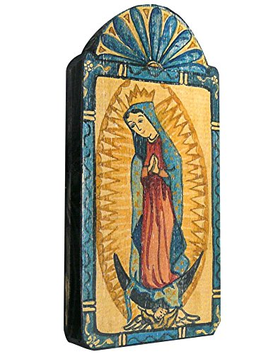Modern Artisans Our Lady of Guadalupe Handmade Patron Saint Retablo Plaque, 3.5 x 7.25 Inches