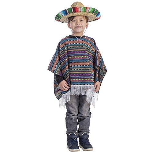 Kid's Mexican Poncho Costume - Size Small 4-6