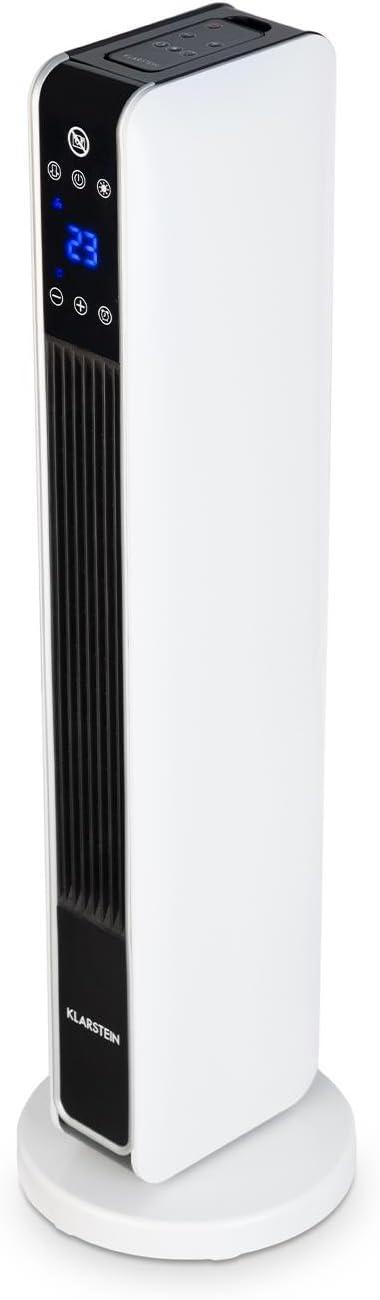 Klarstein Hightower Heat Calefactor de Torre - Oscilador con Soporte, Niveles: 1200 ó 2200 W, Regulable: 10-49 °C, Temporizador, Pantalla LED con Panel táctil, Control Remoto, Cerámica, Blanco