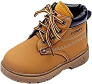 WUIWUIYU Boys Girls Waterproof Lace-Up Cool High-Top Oxfords Ankle Boots Warm Winter Booties