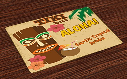 Ambesonne Tiki Bar Place Mats Set of 4, Polynesian with Tropical Drink Retro Typography and Flora Old Aged Design, Washable Fabric Placemats for Dining Table, Standard Size, Beige Brown