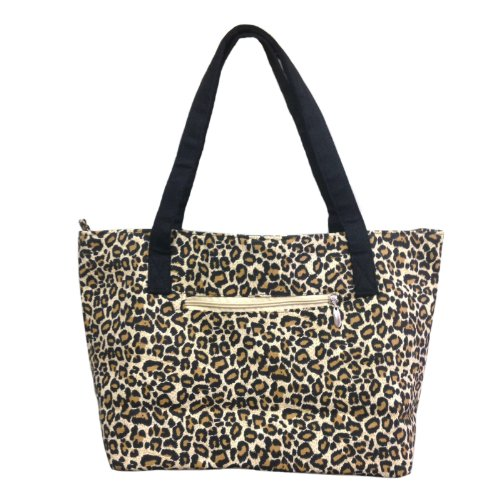 Tote Animal Handbag Print (Zipper Canvas Tote Bag with Coin Pouch - Leopard Animal Print)