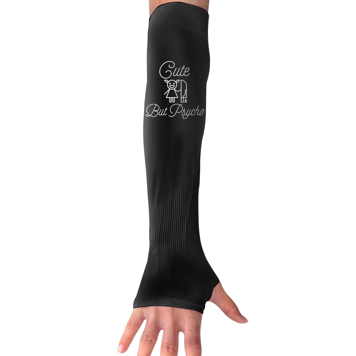 WAY.MAY Cute But Psycho Protection Cooling Warmer Long Arm Sleeves Sunblock Protective Fingerless Gloves Outdoor Sun Sleeve