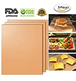 Copper Grill Mat Set of 3,100% Non-stick Gold BBQ Grill Baking Mat-FDA Approved, PFOA Free, PTFE Coated and Reusable for Gas, Electric Grill,Charcoal and More -1575 x 13 Inch