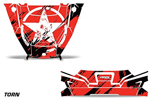 AMRRACING Polaris General 2016+ Hood and Tailgate Custom UTV Graphics Decal Kit - Torn Blue ()