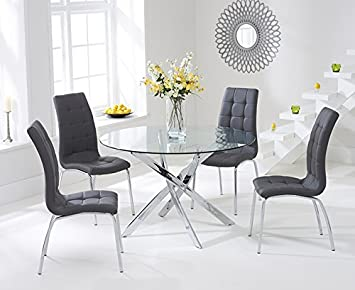 Texas 110cm Glass Round Dining Table And Charcoal Chairs Set Amazon