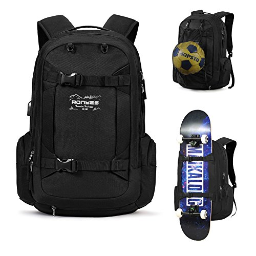Skateboard Backpack Basketball Baseball Football Rugby Ball Soccer Ball Sports Multi-Function Water Resistant Travel School Backpack with USB Port Basketball Net Fits 17.3 Inch Laptop(Black)