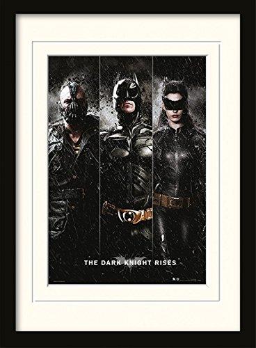1art1 102100 Batman - The Dark Knight Rises, Three Gerahmtes Poster Für Fans Und Sammler 40 x 30 cm