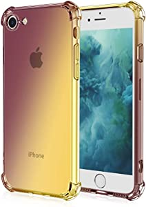 Compatible with iPhone Case,iPhone SE2 Case,iPhone 9 Case,Crystal Clear Case with 4 Corners Shockproof Protection Soft Scratch-Resistant TPU Cover for iPhone Case. (Black/Gold)