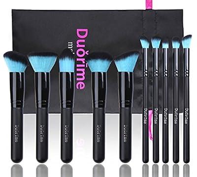 Style Master Makeup Brush Set Cosmetics Foundation Blending Blush Eyeliner Face Powder Brush Kabuki Blue Hair (10pcs Black)