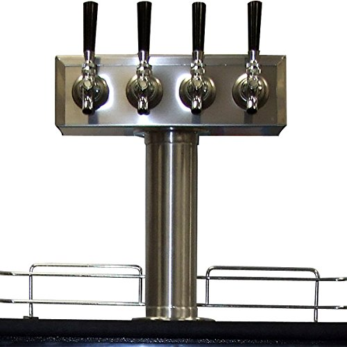 KegWorks BF TTOW-4F-SS-2 Stainless Steel 4 Tap - Draft Beer Kegerator (3 Faucet T-tower Beer Tap)