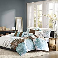Madison Park Farrah Blue 6-piece Duvet Cover Set (Queen)