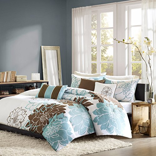 Madison Park Lola Duvet Cover Full/Queen Size - Aqua, Brown, White, Floral, Flowers Duvet Cover Set – 6 Piece – Cotton Sateen, Cotton Poly Crossweave Light Weight Bed Comforter (Contemporary Duvet Sets)