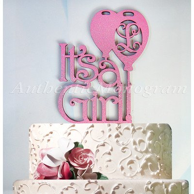amonogram art unlimited its a girl wooden cake topper with single letter monogram 6
