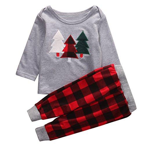 2Pcs Toddler Infant Baby Boy Girl Christmas Outfit Pajamas Shirt Tops+Long Pants Set (Grey+Red, 3-4 Years) -
