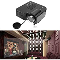 Led Projector 1080p, Mini Portable Home Theater/Office Cinema Entertainment Projector by AV/VGA /USB US Plug, Black