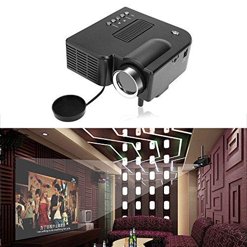 1080P Home Theater Projector, Mini Portable Home/Office Cinema LED Entertainment Projector by AV/VGA /USB US Plug, Black