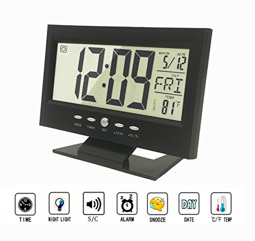 Digital Alarm Clock,Multifunction Sound Control Silent LCD Digital Large Screen Digital Clock, Time/Calendar/Week/Temperature Display, Snooze (Black)