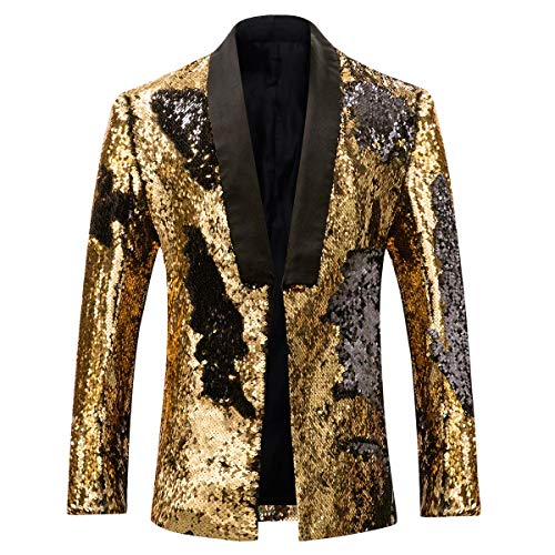 Men's Sport Coat Slim Fit Shawl Collar Sequins Dance Party Blazer Jacket Black-Golden