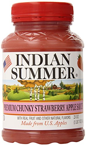 Indian Summer Chunky Apple Sauce, Strawberry, 23 Ounce (Pack of 6)