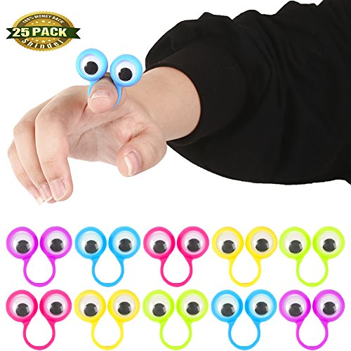 Eye Finger Puppets, Eye Finger Puppets Googly Eyes Rings Eyeball Ring for Kids Party Favor Children's Toys Christmas Gift, 25 PCS (Celebrity Spy Bag)
