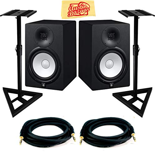 (Yamaha HS7 Powered Studio Monitor Pair Bundle with Two Monitors, Stands, TRS Cables, and Austin Bazaar Polishing Cloth)