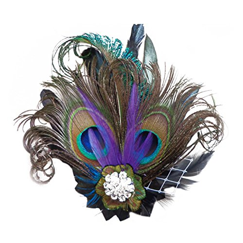 Peacock Costume Headband (CHUANGLI 1920s Gatsby Roaring 20s Flapper Headband Peacock Feather Alligator Clip)