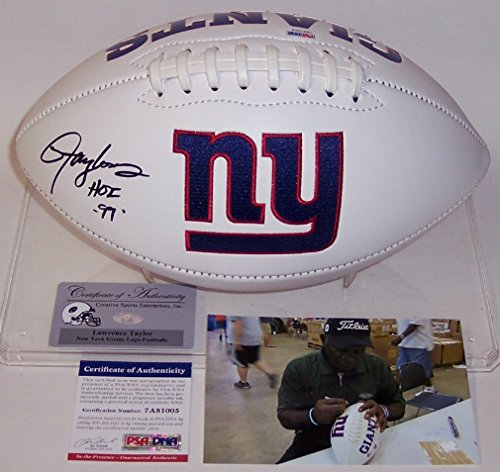 (Lawrence Taylor Autographed Hand Signed New York Giants Logo Full Size Football - with Hall of Fame 99 Inscription - PSA/DNA)