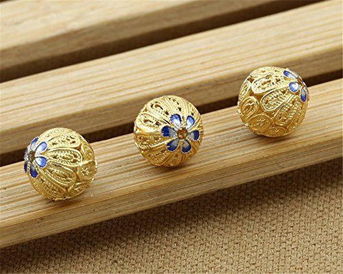 Luoyi 1pc Filigree Golden Plated Sterling Silver Enamel Beads, Hollow Flower Cloisonne Spacer Bead, Round, 12*12mm, Hole: 1mm (T040L)
