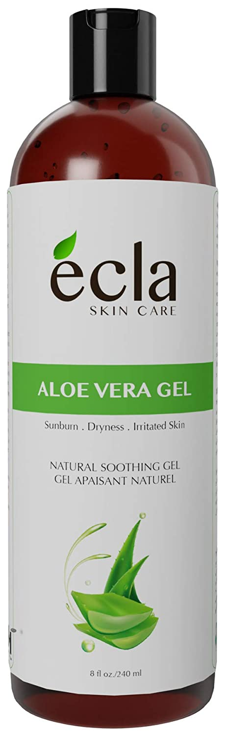 Aloe Vera Gel for Face & Body - Made in Canada with Organic Real Juice (Not Powder) & Seaweed 8 Oz - 240ml ecla SKIN CARE