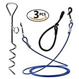 Dog Tie Out Cable and Stake, 10Ft Pet Tie Out Cable, Stainless Spiral Stake and Adjustable Dog Collar - Complete Tether System for Small Medium Pets to Play in the Yard Camping or Outdoors (Blue)