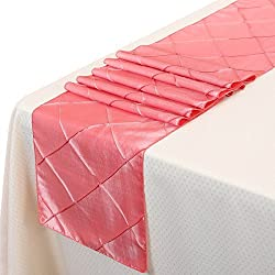 Remedios 12x108 Inch Pintuck Taffeta Table Runner Wedding Decoration Coral