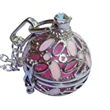 YOur perSOnal STYlish Essential oil necklace Steampunk ball with pink flowers d1 0