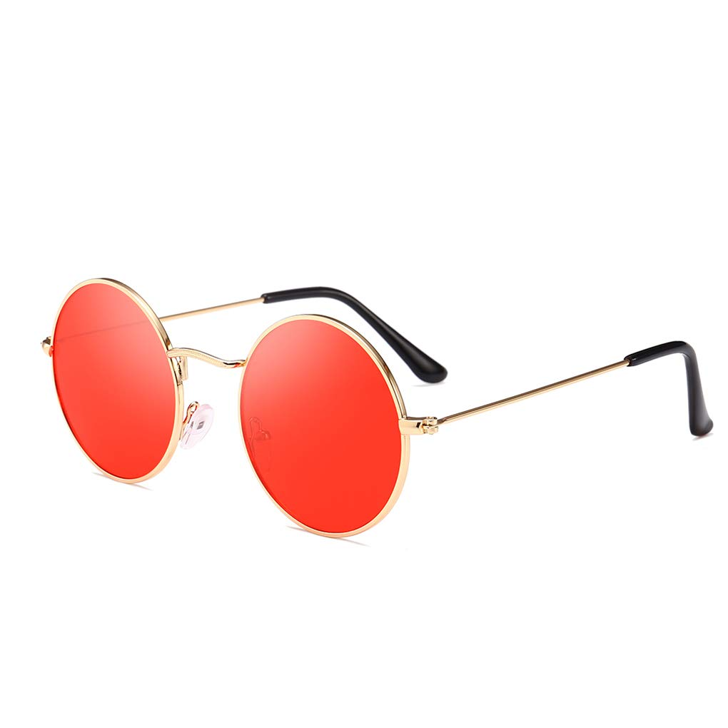 Junecat Men Women Round Metal Frame Sunglasses Circle Resin Lens UV Protection Eyewears Unisex Females Male Sun Glasses