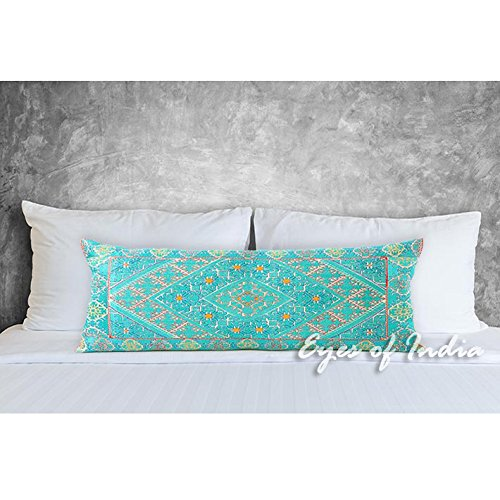 - 14 X 32 Turquoise Teal Embroidered Colorful Decorative Bolster Long Lumbar Sofa Couch Pillow Cushion Cover Boho Bohemian Indian Moroccan De