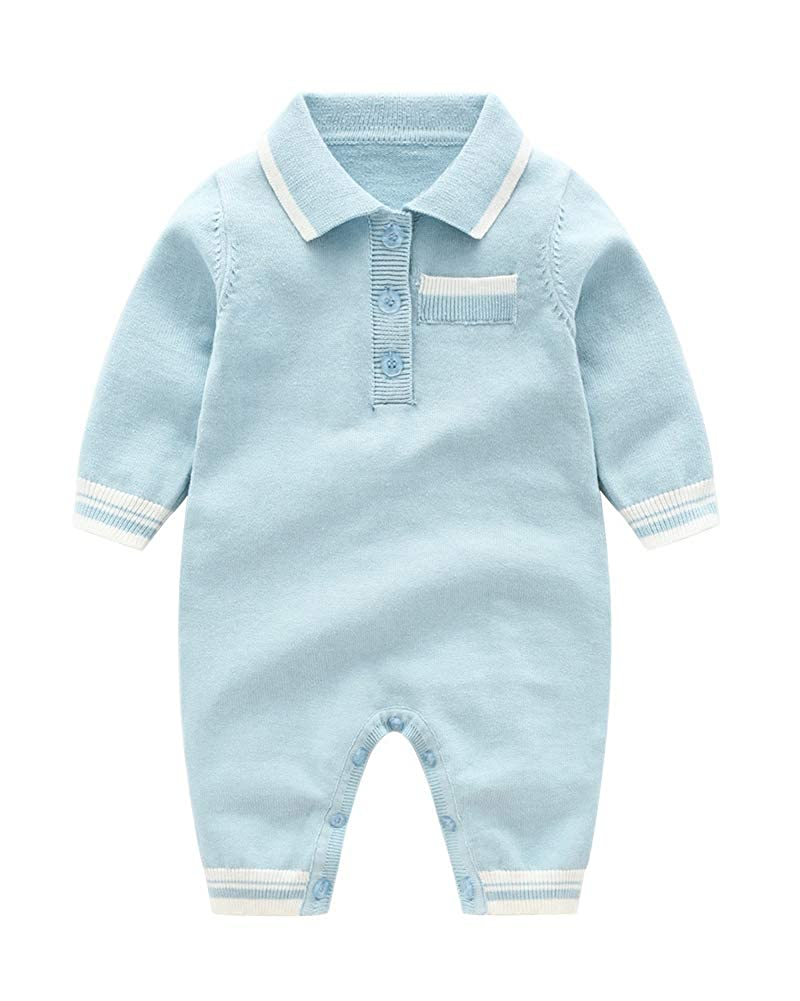 JooNeng Baby Boy Knit Romper Infant Knitted Jumpsuit Lapel Outfits Newborn Onesie