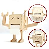 YOURNELO Creative DIY Adjustable Face Wooden Robot Paper Holder With Tools Shelf