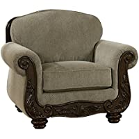 Ashley Furniture Signature Design - Martinsburg Side Chair - Traditional Style Accent Chair - Tight Back - Meadow with Brown Base