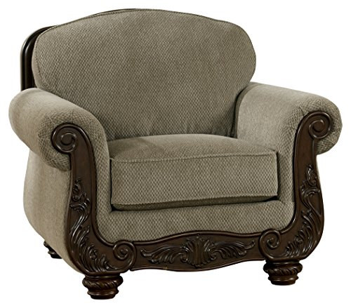 Ashley Furniture Signature Design - Martinsburg Side Chair - Traditional Style Accent Chair - Tight Back - Meadow with Brown (Bun Warmer Shelf)