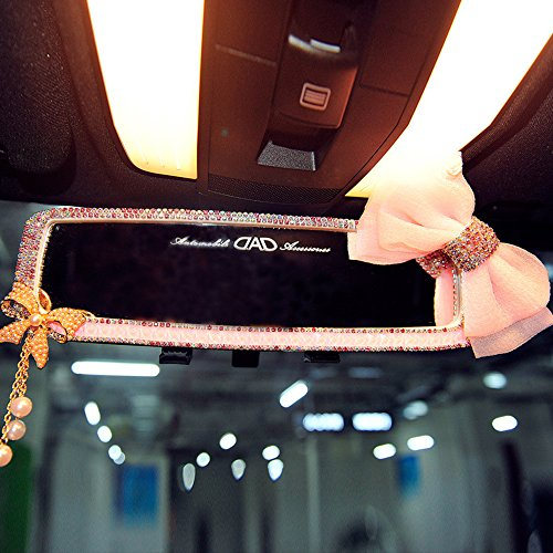 FULL WERK Car Charm Brilliant Shining Diamond Butterfly Rearview Mirror Bling Bling for Girls Woman, Car Interior Trim, Best Birthday Holiday Gift (Pink)