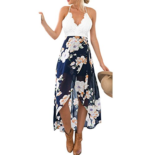 Fashion Women's Casual Chiffon Floral Printed Irregular Hem Party Cocktail Dresses (Medium)