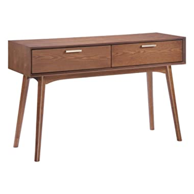 Modern Contemporary Living Room Console Table, Brown Wood