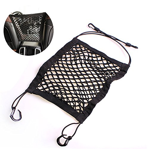 HaloVa Car Seat Storage Organizer, Car Mesh Organizer, Seat Back Net Bag, Universal Mesh Cargo Net Hook Pouch Holder for Purse Bag Phone Pets Children Kids Disturb Stopper, Black Passenger Armrest Pouch