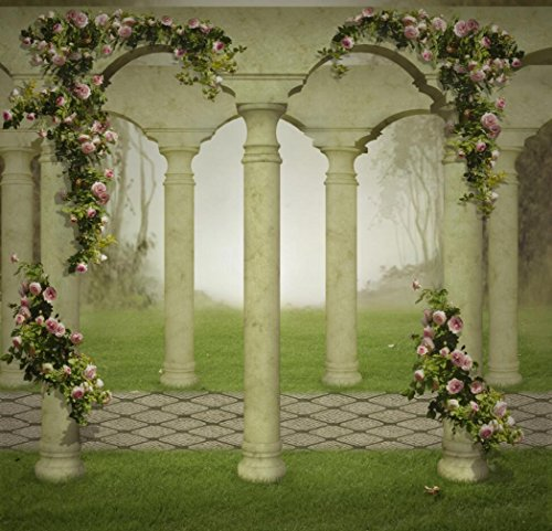 10x10 ft Fantasy Garden Photography Backdrop with Columns Pink Roses Green Grass Vintage Pillar Background for Photo Studio ()