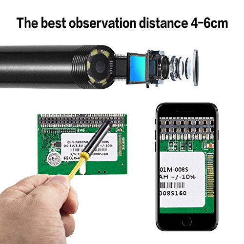 Newest Wireless Endoscope, 10M WiFi Borescope Inspection Camera 2.0 Megapixels HD Snake Camera for Android and iOS Smartphone, iPhone, Samsung, Tablet … (Yellow Soft) by YIERBLUE (Image #2)