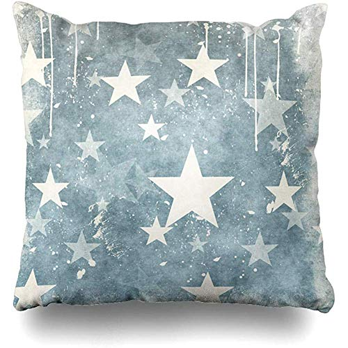 Throw Pillow Cover Rough Pattern Stars Vintage Graphic Grubby Retro Leaf Design Manuscript Home Decor Cushion Case Square Size 18