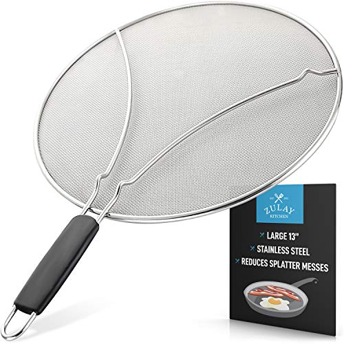 "Splatter Screen for Frying Pan - Stops Almost 100% of Hot Oil Splash - Large 13"" Stainless Steel Grease Guard Shield and Catcher- Keeps Stove and Pans Clean & Prevents Burns When Cooking by Zulay"